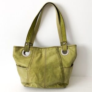 Fossil green leather shoulder tote